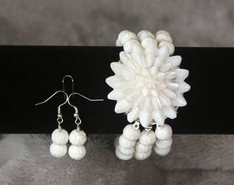 Carved White Coral and Mother of Pearl Bracelet and Earrings Set