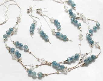 Blue Kyanite Necklace Earrings Set, Sterling Silver, multi strand necklace, chain dangle earrings on studs, boho necklace, gift for her