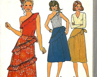 ON SALE Simplicity 8578 Misses Boho One Shoulder Top And Ruffled Skirt Pattern, Size 14