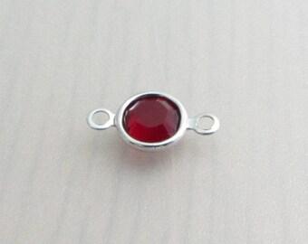 6mm Siam Swarovski Crystal Channel Connector, January July Birthstone Crystal, 6mm 57700 Channel Crystal, Red Crystal Bead, Bead Destash