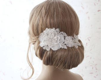 Lace hair comb, bridal headpiece, ivory floral headpiece, lace headpiece, bridal accessories