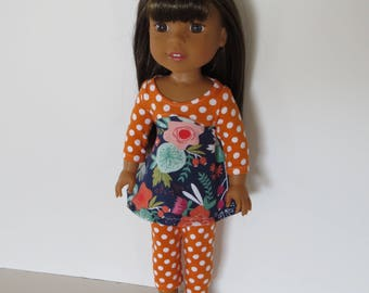 """Made To Fit Like 14.5"""" Wellie Wishers Doll Clothes: Doll Leggings with Cotton Knit Dress; Dress for Wellie Wishers Doll"""