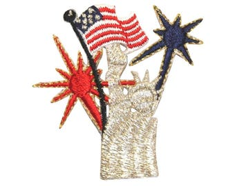 ID 1050 Statue of Liberty Fireworks Patch Patriotic Embroidered Iron On Applique