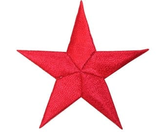 ID 3435 Red Star Patch Symbol Space Night Sky Embroidered Iron On Applique
