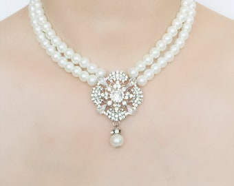 Bridal Jewelry/ Bridal Pearl Necklace/ Rhinestone Crystal Necklace/ Wedding Jewelry/ Wedding Necklace/ Rhinestone Jewelry/ Wedding Necklace