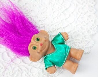 Vintage Small Troll Doll, Pink Hair