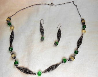 Art Nouveau Art Deco Green and Silver Filigree Necklace and Earrings