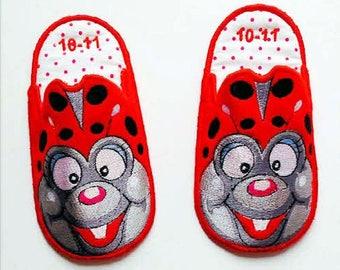 Ladybug Bedroom Slippers,Childrens Slippers, Bedroom Slippers, House Shoes, Bedtime Slippers,Made to Order