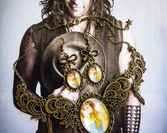 Bib necklace cameo calavera dia los muertos mexican gypsy Bohemian ♠ Bella ♠
