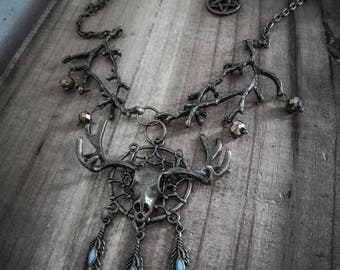 Necklace bronze deer Katniss Everdeen dreamcatcher steampunk ♠ Hunger Games ♠