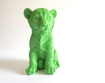 GREEN Tiger Cub Animal Statue for Table top safari animal green tiger nursery decor kids room decor office decor