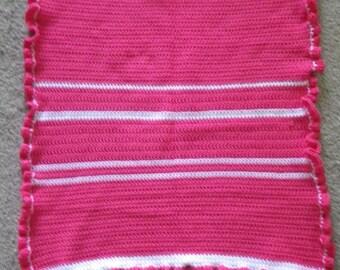 Striped Ruffled Baby Blanket in Watermelon Pink Handmade Crochet Stripes Afghan Shower Gift Bedding Nursery Receiving Stroller  Lapghan Lap