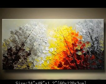 contemporary wall art, Palette Knife Painting,colorful tree painting,wall decor  Home Decor,Acrylic Textured Painting ON Canvas by Chen 0723