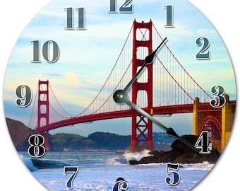 "10.5"" GOLDEN GATE BRIDGE Clock - Living Room Clock - Large 10.5"" Wall Clock - Home Décor Clock - 5144"
