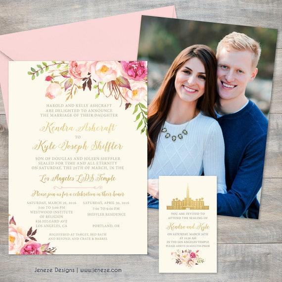 Blush Pink And Gold Floral Wedding Invitation Set Lds Wedding