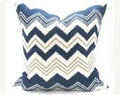 15% Off Sale Navy Pillow, Decorative Pillow, Pillow Cover, Designer Pillow, Blue Gray Pillow, Accent Pillow, Burlap Pillow, Chevron Pillow ,