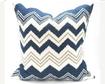 15% Off Sale Navy Pillow, Decorative Pillow, Pillow Cover, Designer Pillow, Blue Gray Pillow, Accent Pillow, Burlap Pillow, Chevron Pillow ,