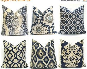 15% Off Sale EURO PILLOW, Navy Pillow, Navy pillow cover, Tan pillow, Blue tan pillow, Decorative pillows, throw pillow cover, accent pillow