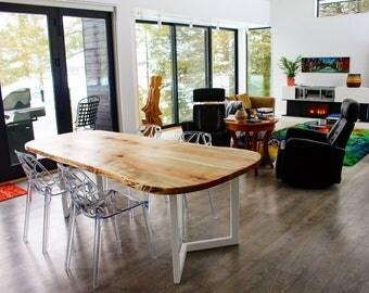maple dining table custom white metal legs modern design-free shipping!