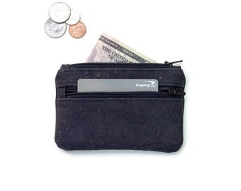 Black Cork Coin Purse Wallet - Change Purse Card Wallet- Small Wallet made with cork fabric
