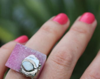 druzy ring, fire opal ring, pearl ring,  carved ring, agate ring, keshi pearl ring, statement ring, cocktail ring, silver ring, fire opal