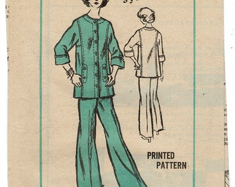 Mail Order Sewing Pattern A583 by Sylvan Rich Prominent Designer, Comfortable Tunic & Flare Legged Pants Size 12 Bust 34, Partly Uncut