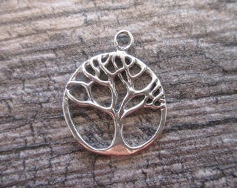 Tree of Life charm 925 Sterling Silver 24mm x 30mm silver tree of life pendant spiritual sacred tree nature charm TREE05