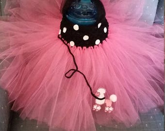 50's Poodle Pink and Black Costume Flower Girl Tutu Dress skirt