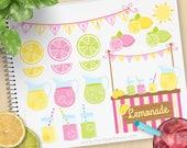 Pink Lemonade Stand Clipart, summer fruit clipart, garden party, pink lemonade, mason jars, Commercial Use, Vector clip art, SVG Cut Files