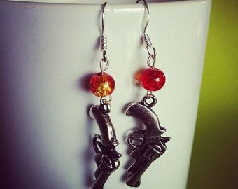 Gun red and yellow bead earrings