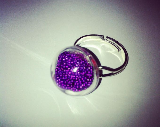 Round dome with Pearlescent purple glass ring