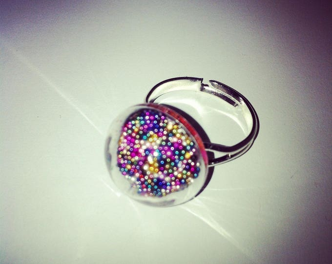 Ring round domed glass with colorful micro beads
