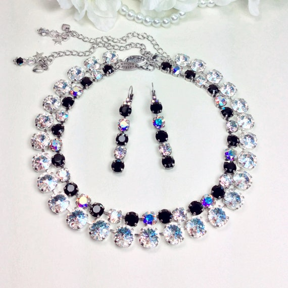Swarovski Crystal 12mm & 8.5mm Necklaces, Bracelet, and Earrings - Jet, White Patina and Aurora Borealis  - Designer Inspired -FREE SHIPPING