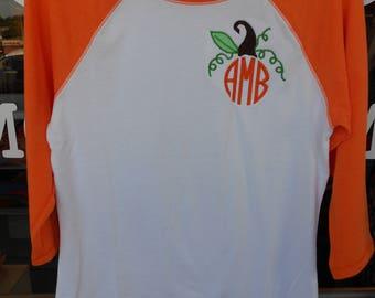 Halloween Shirt Pumpkin Design  Font shown Natural Circle