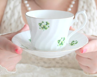 St. Patrick's Day, Vintage House of Global Art English Bone China Shamrock Pattern Tea Cup and Saucer