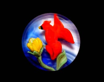 Paperweight button with Cardinal and Flower - Sue Fox