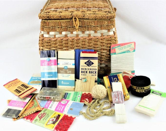 Vintage Large 1960s Natural Wicker Sewing Basket