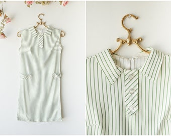 Green and White Striped Shift Dress - Sleeveless Vintage Mini Dress with Collar and Buttons - Size Small
