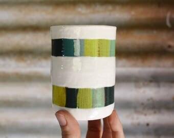 ON SALE ** Double Stripe Cup - Ceramic Cup - Pottery Cup - Ceramic Tumbler