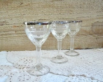 """Vintage Set of 3 FRENCH BISTRO GLASSES, Small Wine Glasses with Silver Rim. They Contain 5cl. High 12.7cm or 5 """"."""