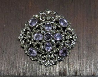 Antique Brooch, Edwardian Amethyst and Marcasite Brooch Sterling Silver, French c. 1915, Art Deco Brooch, Edwardian Jewelry
