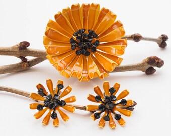 Vintage Enamel Jewelry Set, Floral Jewelry Set, Vintage Enamel Brooch Earring, 1950s Jewelry, Floral Jewelry, Demi Parure, Costume Jewelry