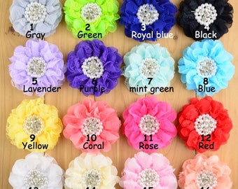 "3.5"" Lace Chiffon Flowers Rhinestones Pearls Shabby, DIY Headband, Wedding Flowers"