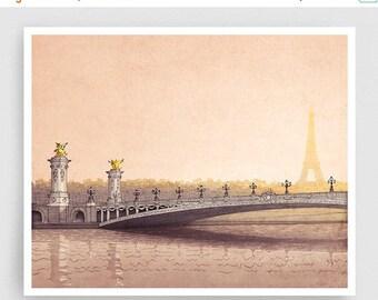 30% OFF SALE: Pont Alexandre III - Paris illustration Fine art illustration Art Poster Paris art Architecture Paris decor Travel poster Wall