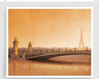 30% OFF SALE: Paris illustration - From sun to sun - Art Illustration Print art print Eiffel tower Home decor Architectural drawing Paris Ci