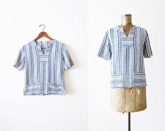 Striped Blouse / Vintage Striped Shirt / 70s Blouse / Textured Shirt / Tunic Top / Blue White Striped Top / 70s Clothes / Cotton Blouse