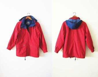 90s windbreaker - vintage colorblock windbreaker - red hooded windbreaker - fleece lined jacket - hiking jacket - camp jacket - anorak