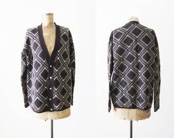 Vintage Cardigan - Grunge Cardigan - Grandpa Cardigan - Brown Wool Cardigan - Argyle Plaid Sweater - Joseph Magnin - Mens Cardigan Large