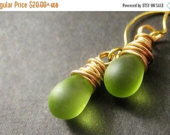 SUMMER SALE Teardrop Earrings: Wire Wrapped Drop Earrings. Frosted Green Earrings in Gold. Handmade Jewelry.