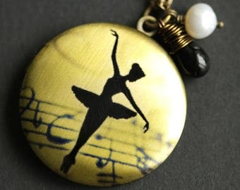 Ballerina Locket Necklace. Ballet Necklace with Black Teardrop and Fresh Water Pearl. Ballerina Necklace. Dance Necklace. Handmade Jewelry.